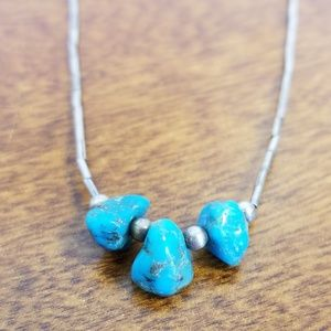 Jewelry - Turquoise liquid silver necklace/choker